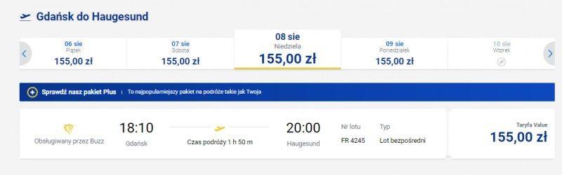 Przykładowe ceny biletów z Gdańska do Haugesund.