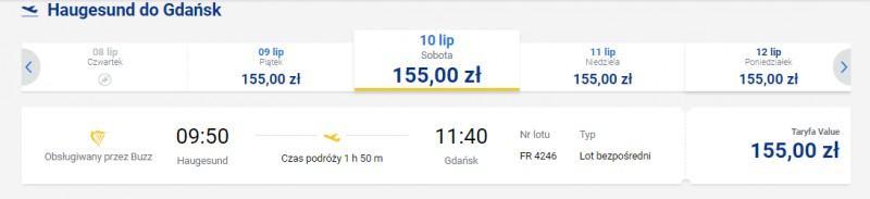 Przykładowe ceny lotów z Haugesund do Gdańska.