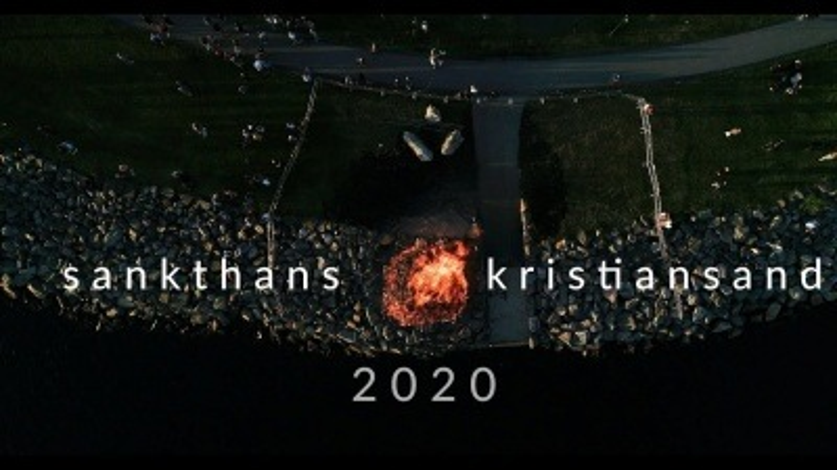 Sankthans 2020 in Kristiansand z powiietrza.