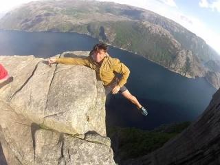 Free Hanging from Preikestolen norway. Pulpit Rock Norway (GOPRO)