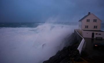 Huge waves and Hurricane at Kråkenes lighthouse fyr Stad Norway in storm HD 1080p