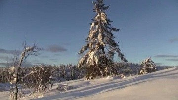 Winter landscape with snowy mountains in Norway (HD - 1080p)